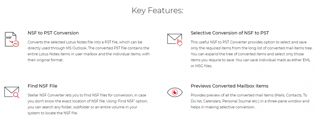 NSF to PST Converter Features