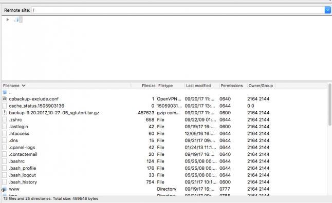 FileZilla remote site