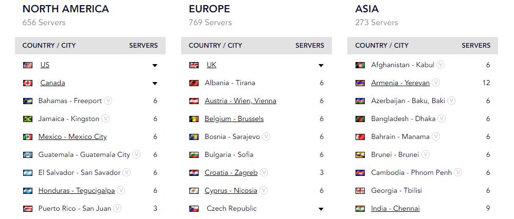 PureVPN servers